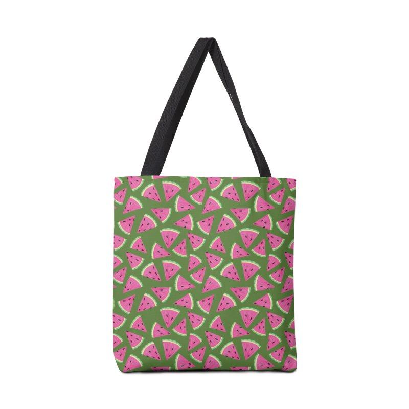 Watermelon Crush: Green Accessories Bag by Zoe Chapman Design