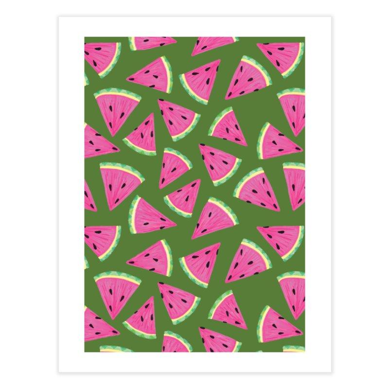Watermelon Crush: Green Home Fine Art Print by Zoe Chapman Design