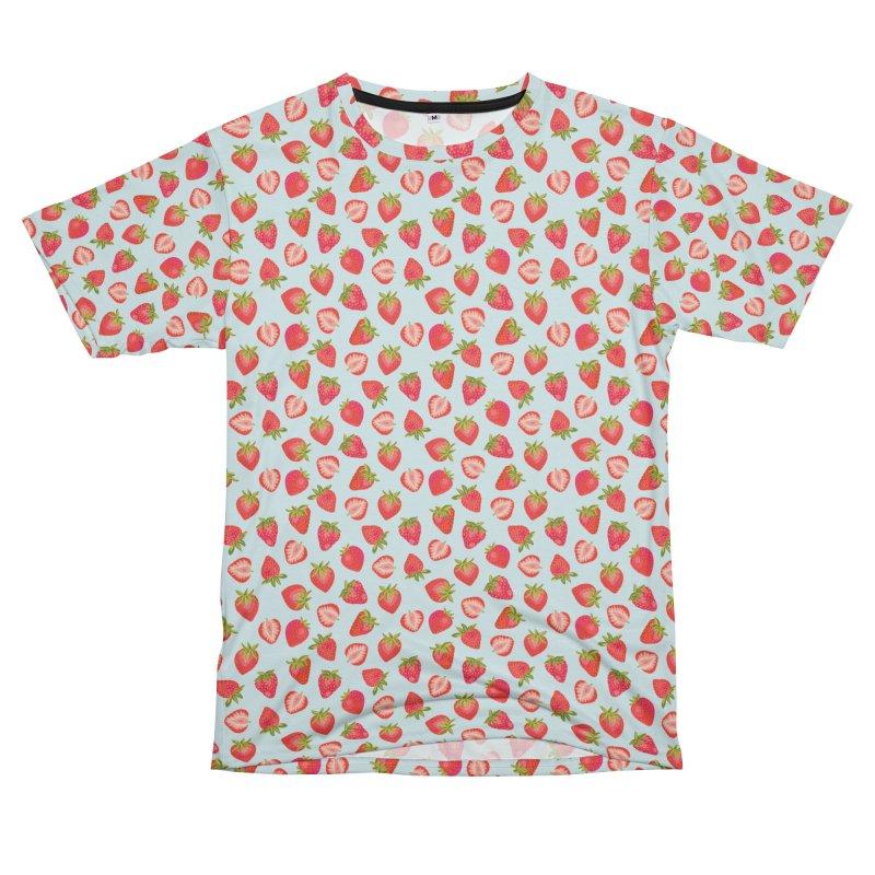 English Strawberries on Mint Men's Cut & Sew by Zoe Chapman Design