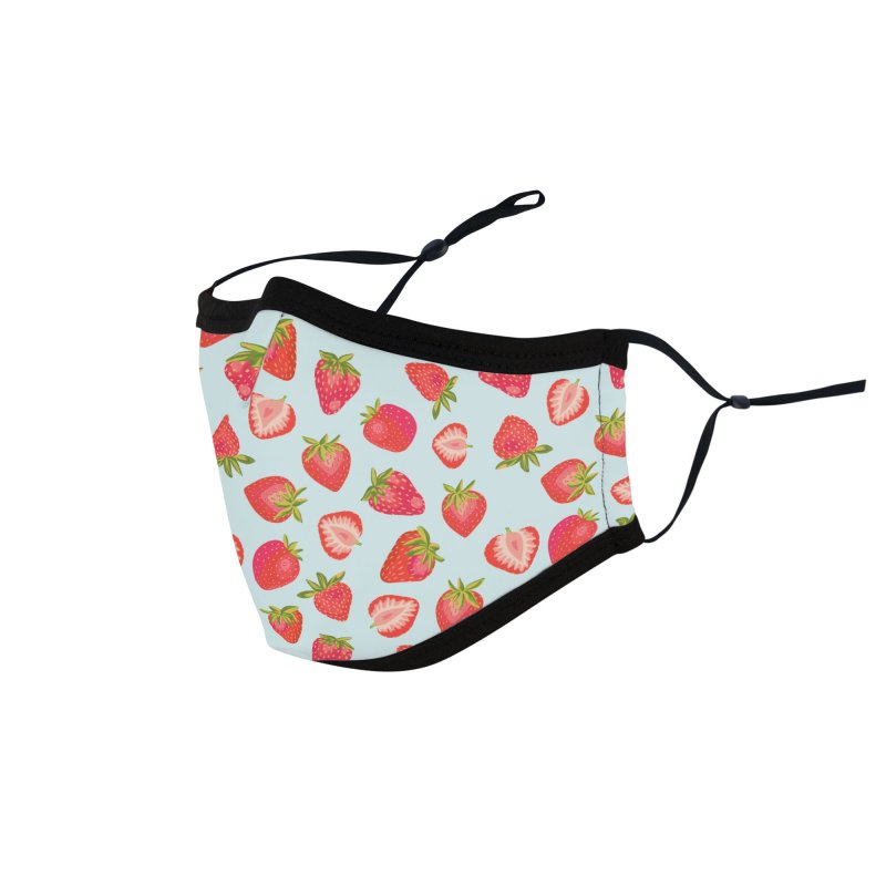English Strawberries on Mint Accessories Face Mask by Zoe Chapman Design