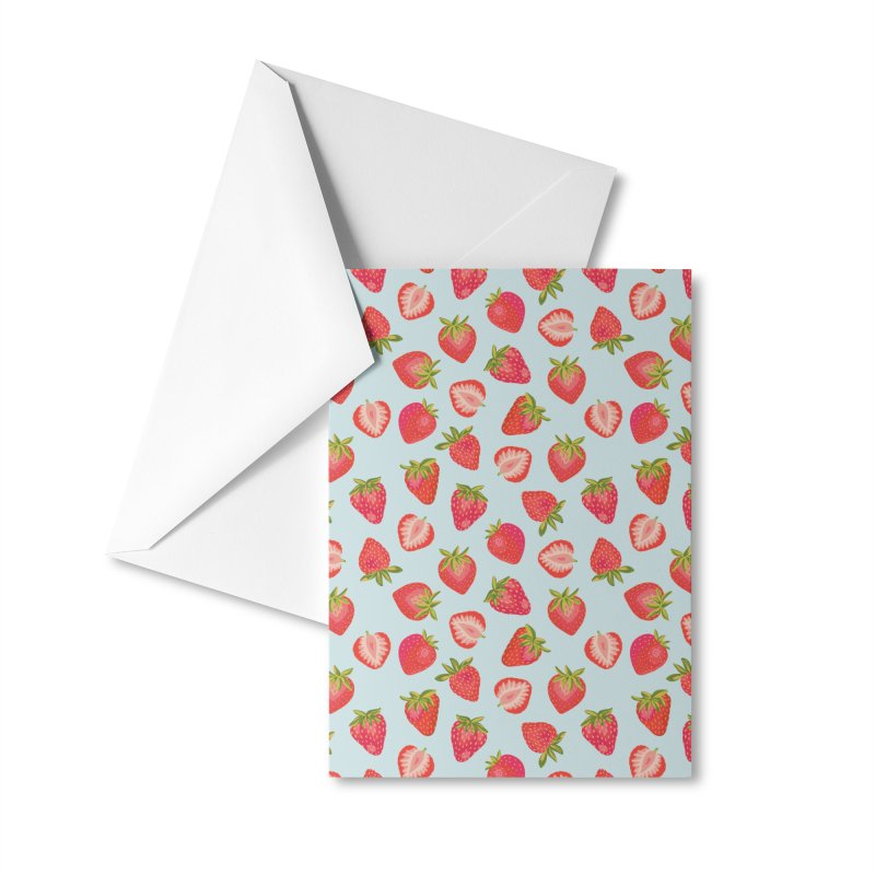 English Strawberries on Mint Accessories Greeting Card by Zoe Chapman Design
