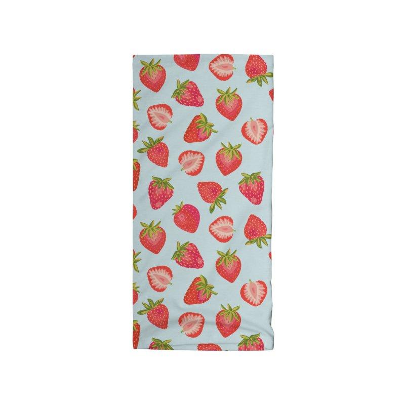 English Strawberries on Mint Accessories Neck Gaiter by Zoe Chapman Design