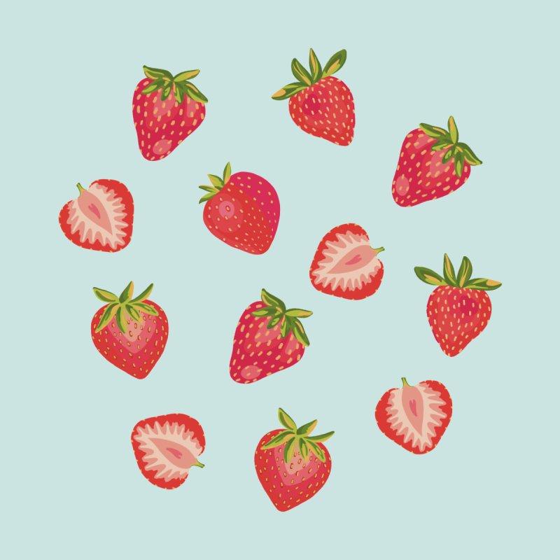 English Strawberries on Mint Men's T-Shirt by Zoe Chapman Design