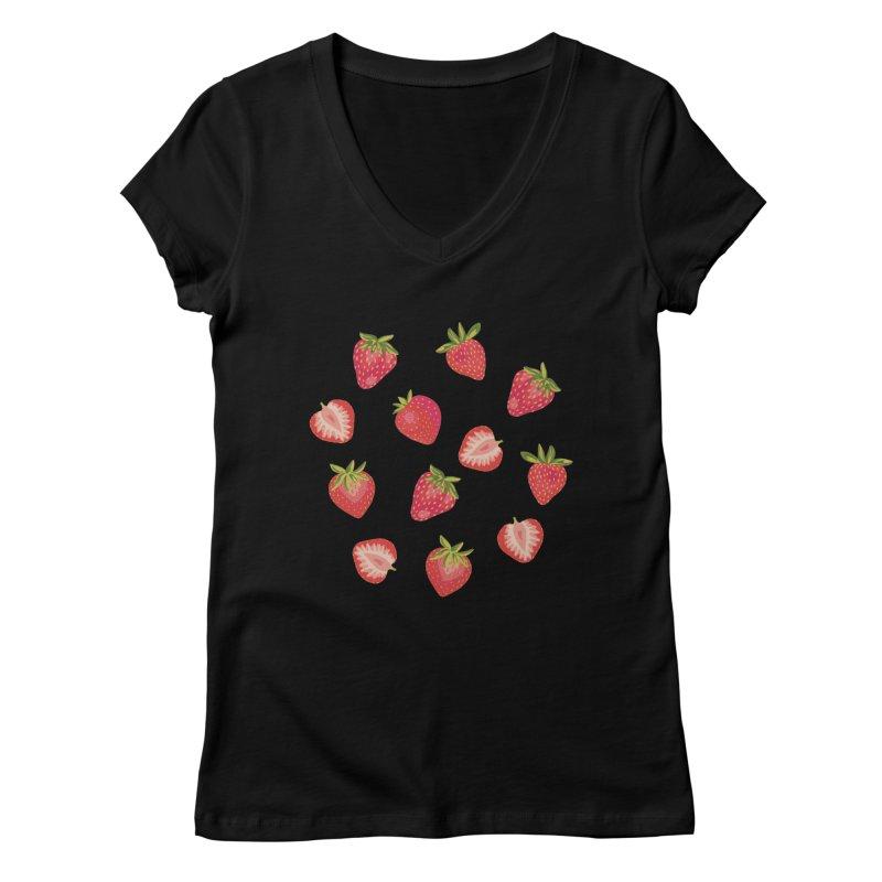 English Strawberries on Mint Women's V-Neck by Zoe Chapman Design