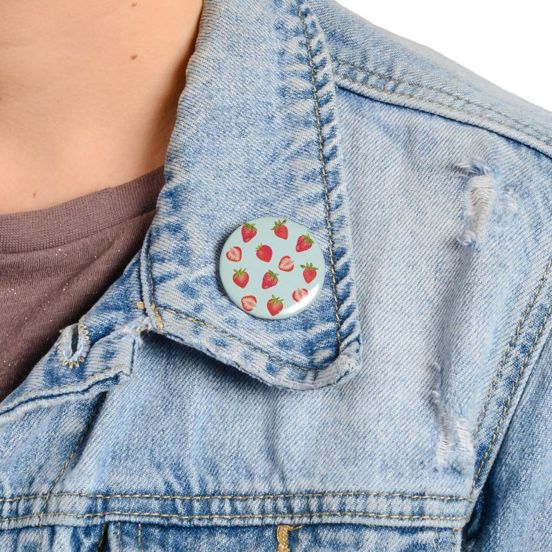 English Strawberries on Mint Accessories Button by Zoe Chapman Design
