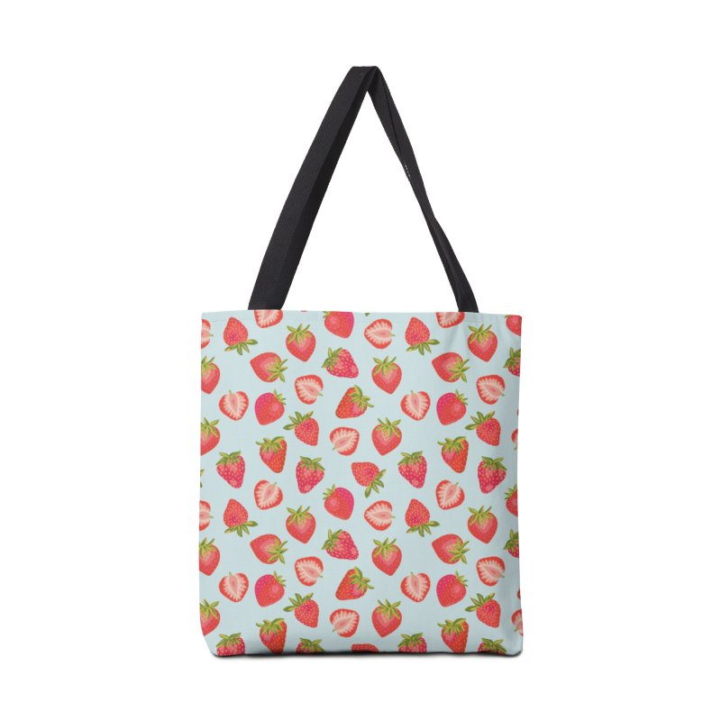 English Strawberries on Mint Accessories Bag by Zoe Chapman Design