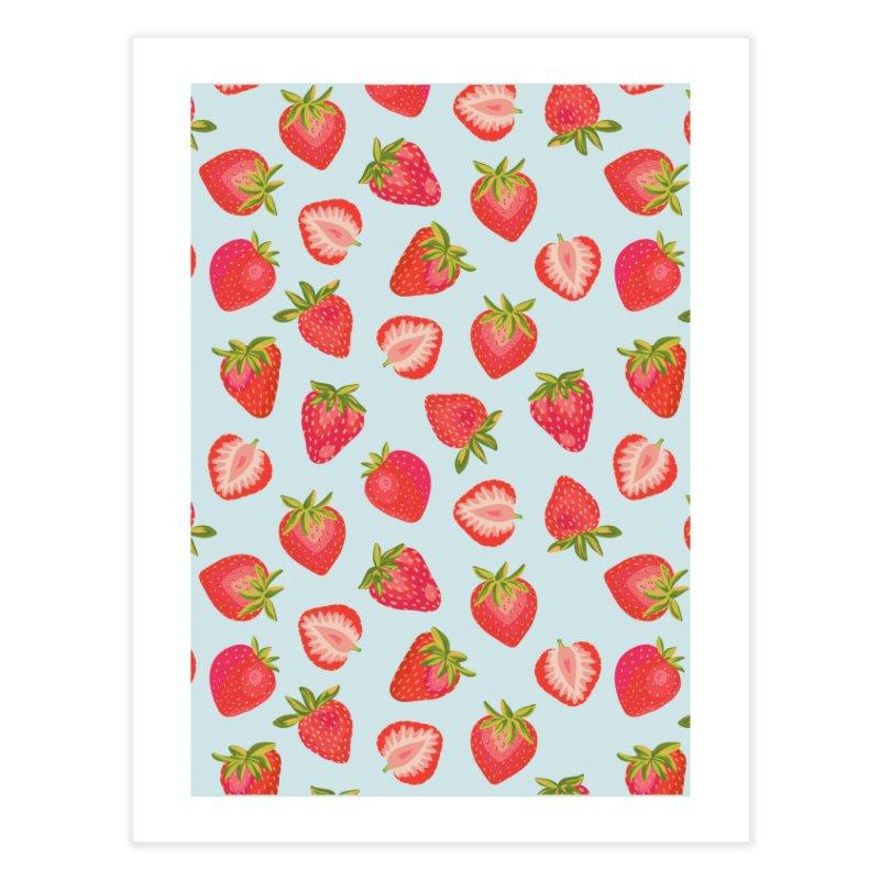 English Strawberries on Mint Home Fine Art Print by Zoe Chapman Design