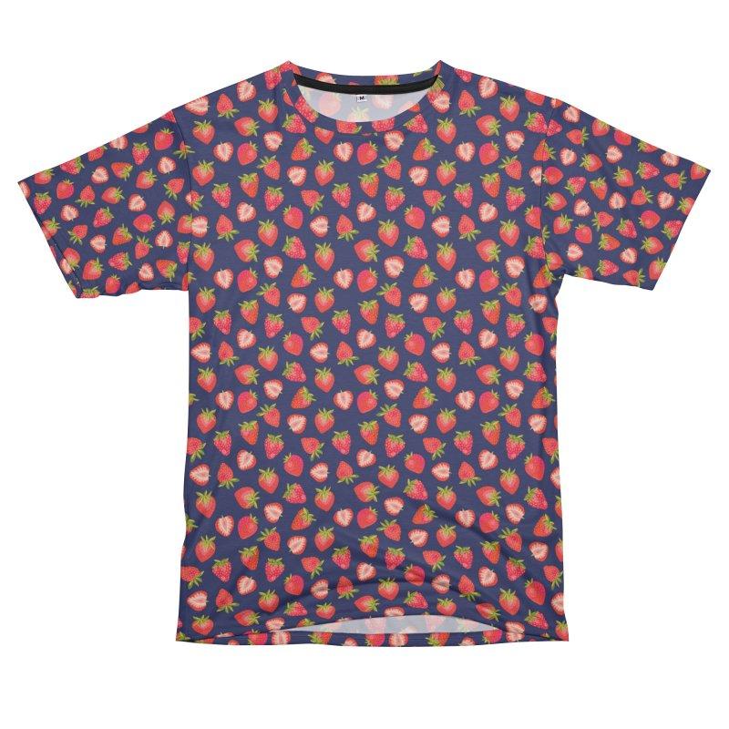 English Summer Strawberries on Navy Blue Men's Cut & Sew by Zoe Chapman Design