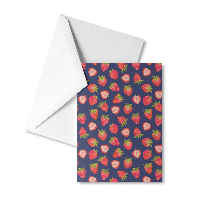 English Summer Strawberries on Navy Blue Accessories Greeting Card by Zoe Chapman Design