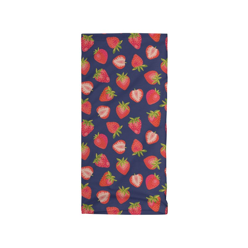 English Summer Strawberries on Navy Blue Accessories Neck Gaiter by Zoe Chapman Design