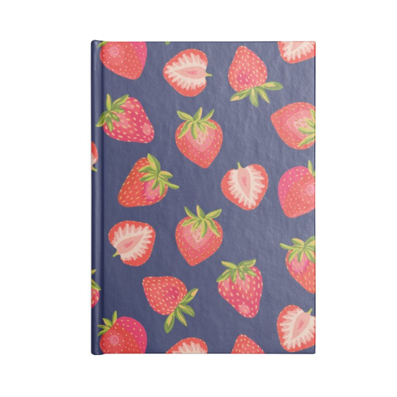 English Summer Strawberries on Navy Blue Accessories Notebook by Zoe Chapman Design
