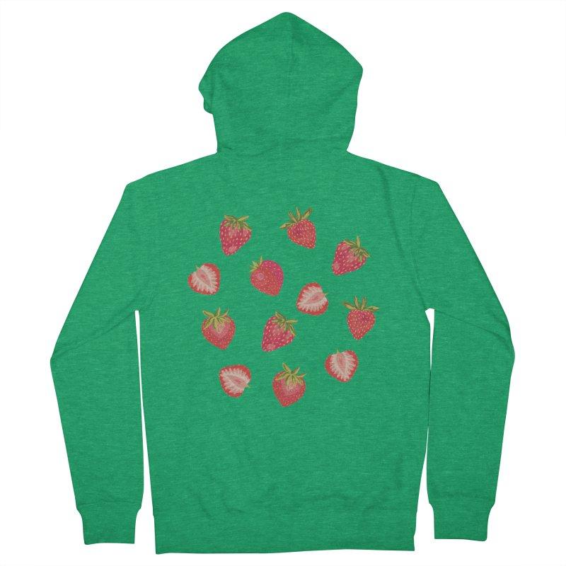 English Summer Strawberries on Navy Blue Men's Zip-Up Hoody by Zoe Chapman Design