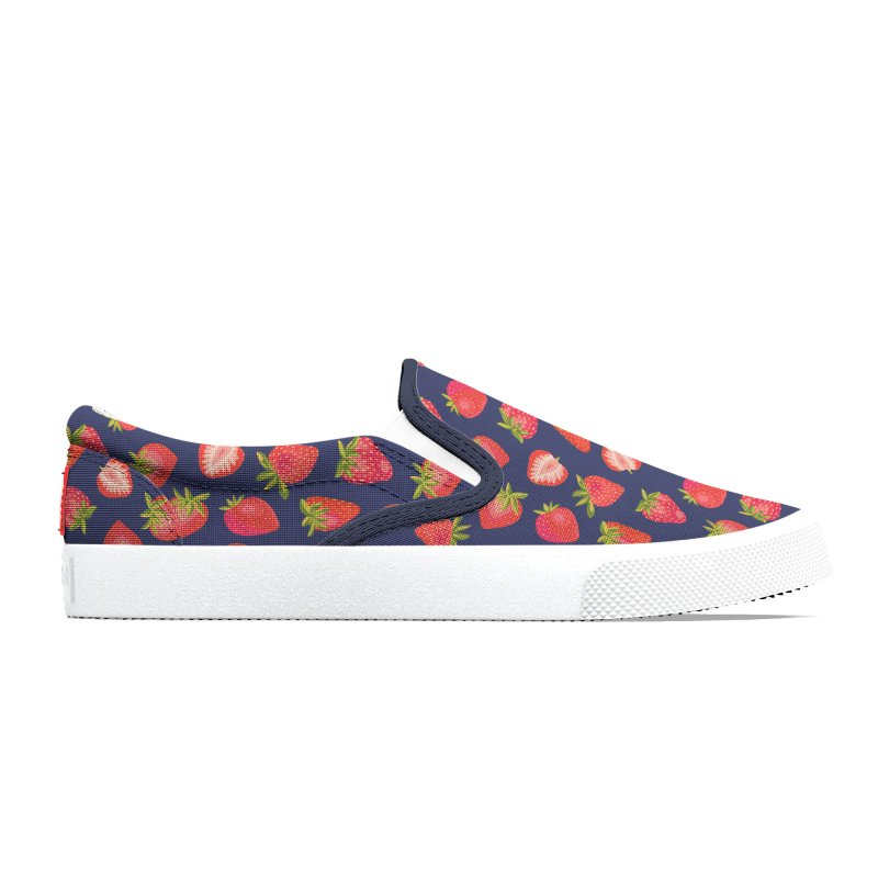 English Summer Strawberries on Navy Blue Men's Shoes by Zoe Chapman Design