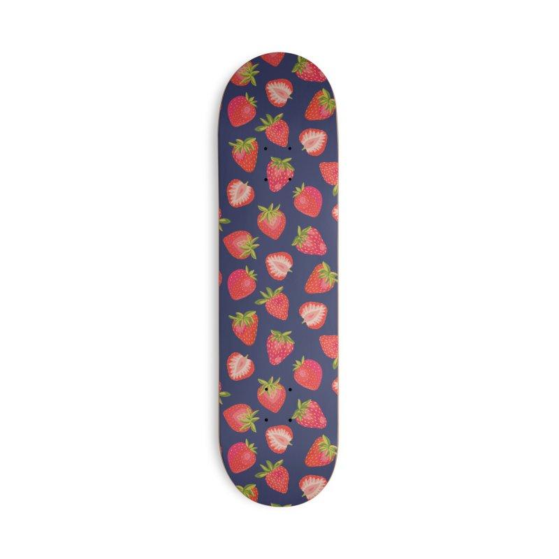 English Summer Strawberries on Navy Blue Accessories Skateboard by Zoe Chapman Design