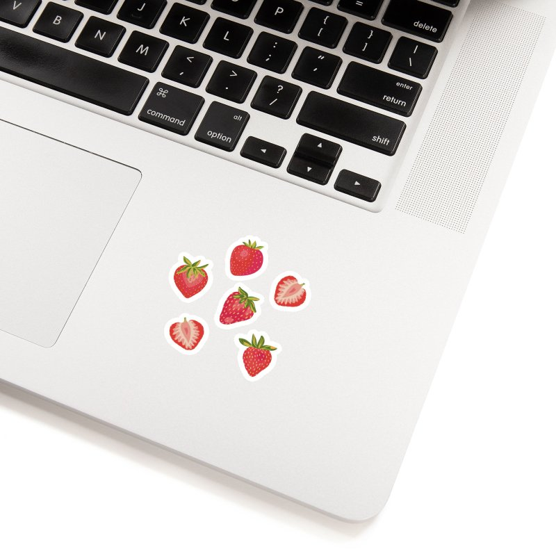 English Summer Strawberries on Navy Blue Accessories Sticker by Zoe Chapman Design