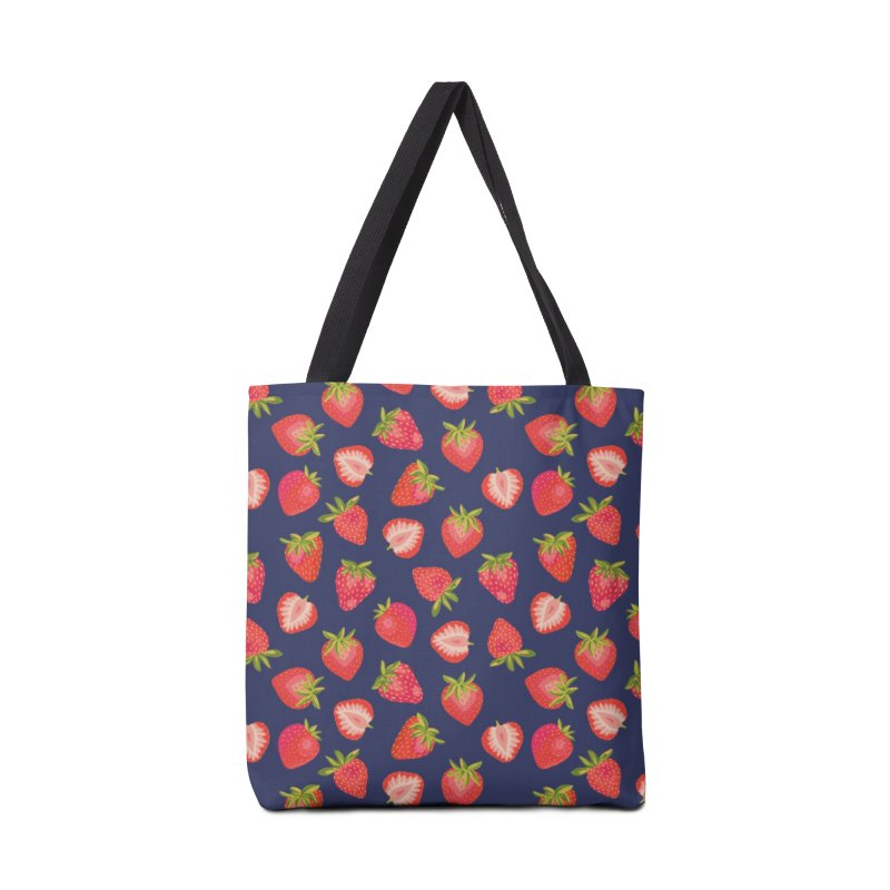 English Summer Strawberries on Navy Blue Accessories Bag by Zoe Chapman Design