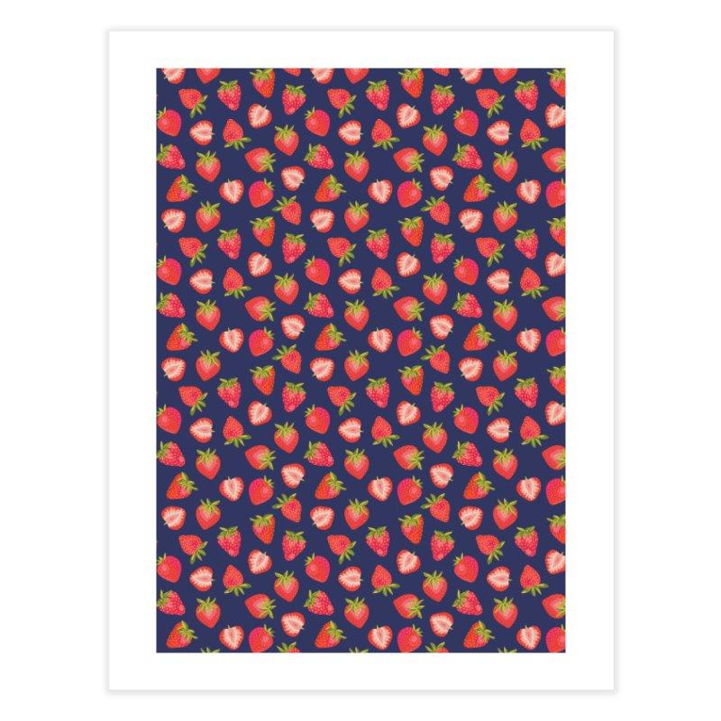 English Summer Strawberries on Navy Blue Home Fine Art Print by Zoe Chapman Design