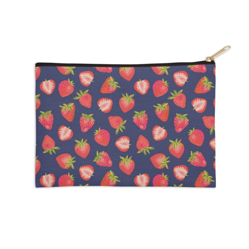 English Summer Strawberries on Navy Blue Accessories Zip Pouch by Zoe Chapman Design
