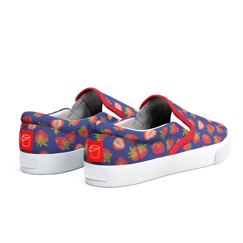 Summer Strawberries on Royal Blue Men's Shoes by Zoe Chapman Design