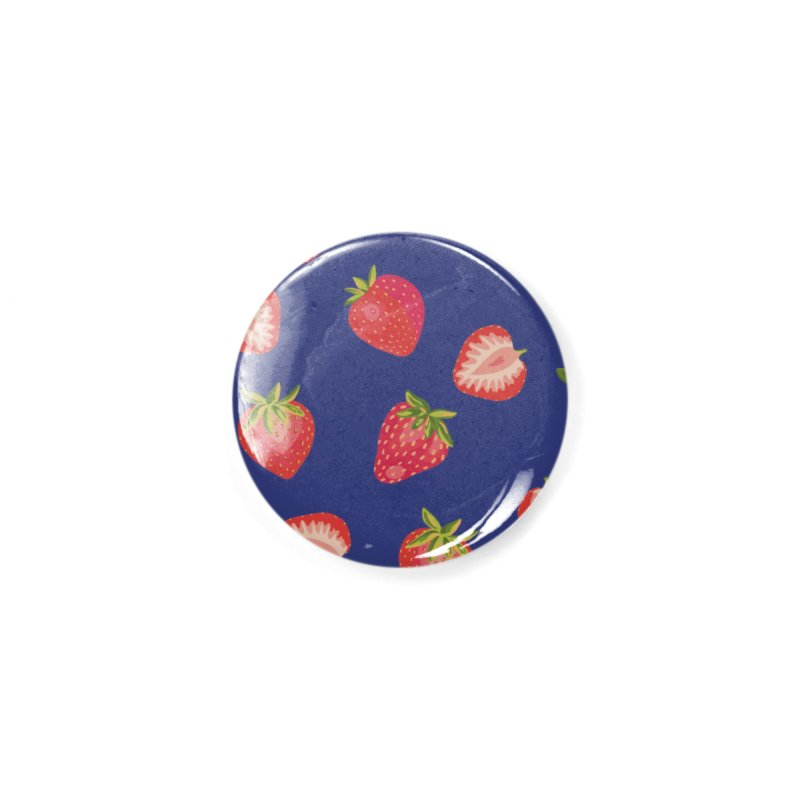 Summer Strawberries on Royal Blue Accessories Button by Zoe Chapman Design