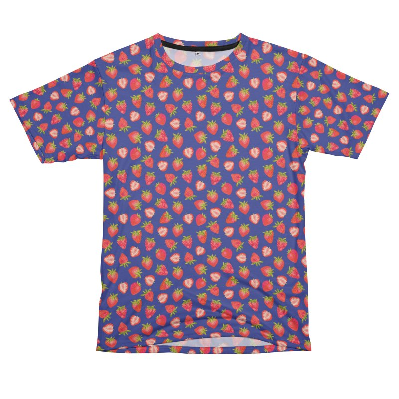 Summer Strawberries on Royal Blue Men's Cut & Sew by Zoe Chapman Design