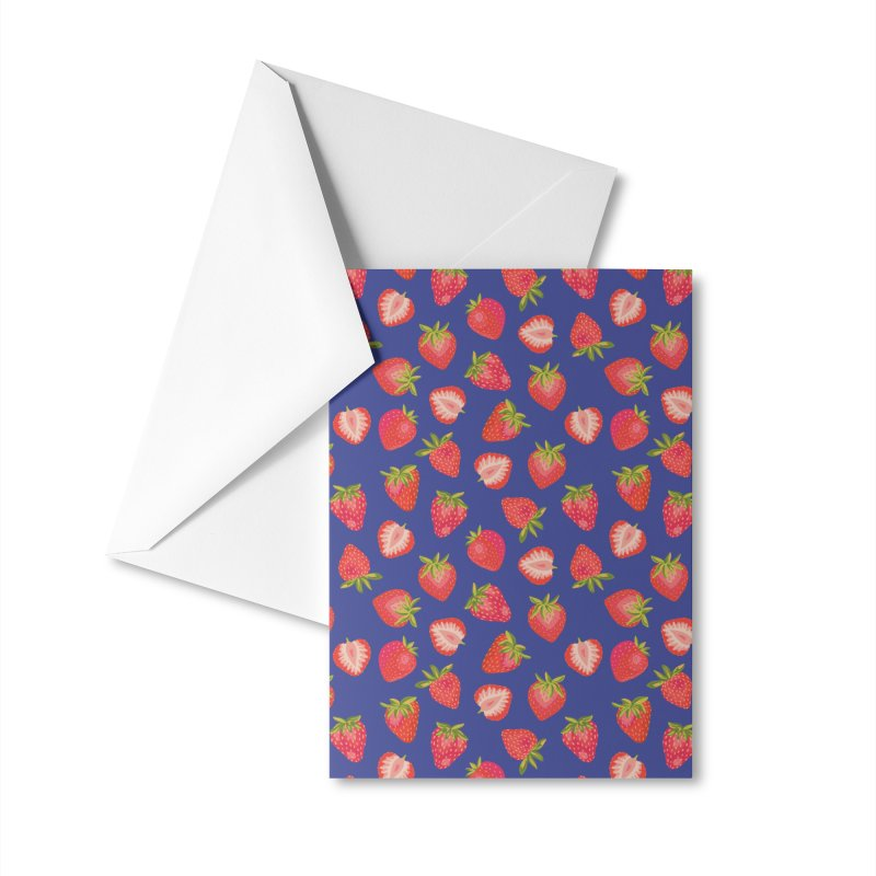 Summer Strawberries on Royal Blue Accessories Greeting Card by Zoe Chapman Design