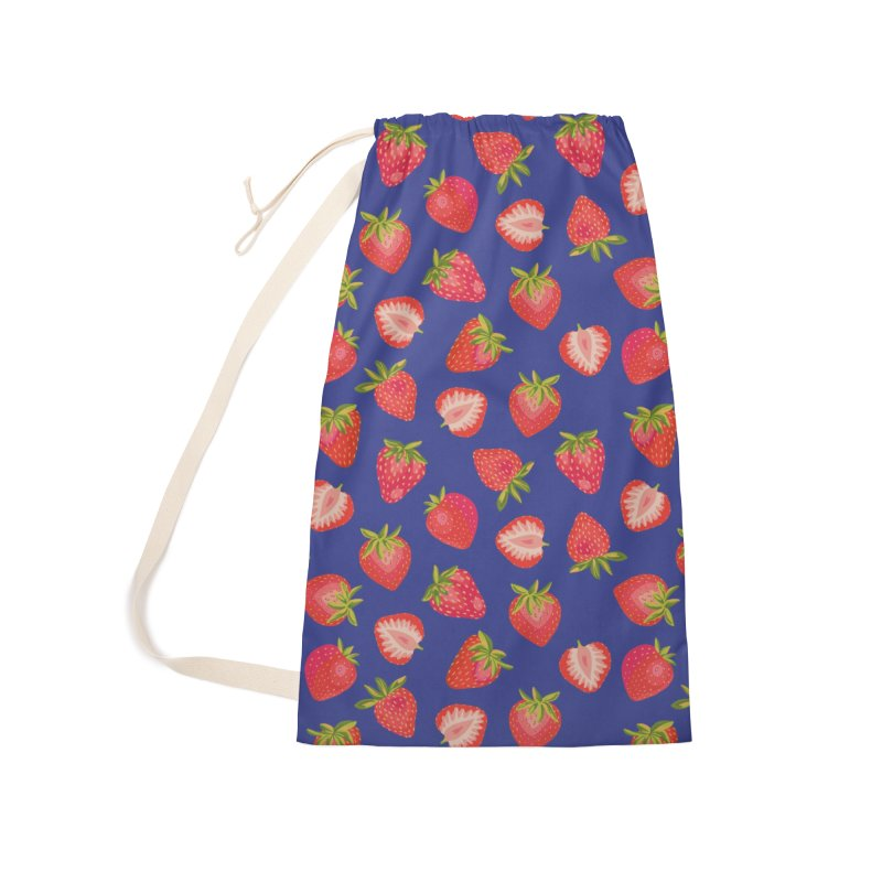 Summer Strawberries on Royal Blue Accessories Bag by Zoe Chapman Design
