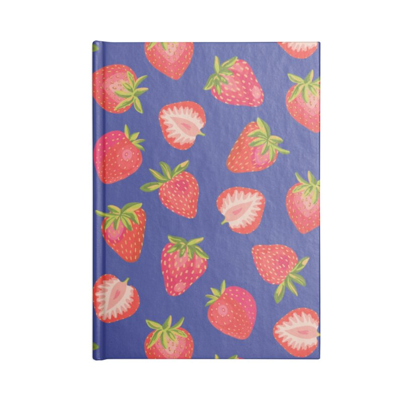 Summer Strawberries on Royal Blue Accessories Notebook by Zoe Chapman Design