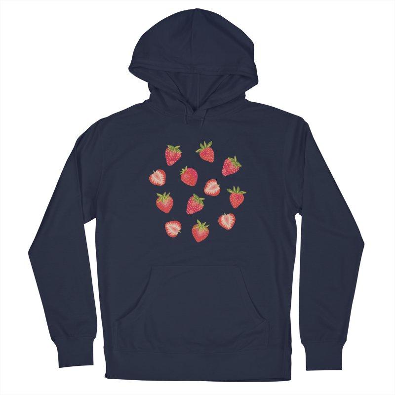 Summer Strawberries on Royal Blue Men's Pullover Hoody by Zoe Chapman Design