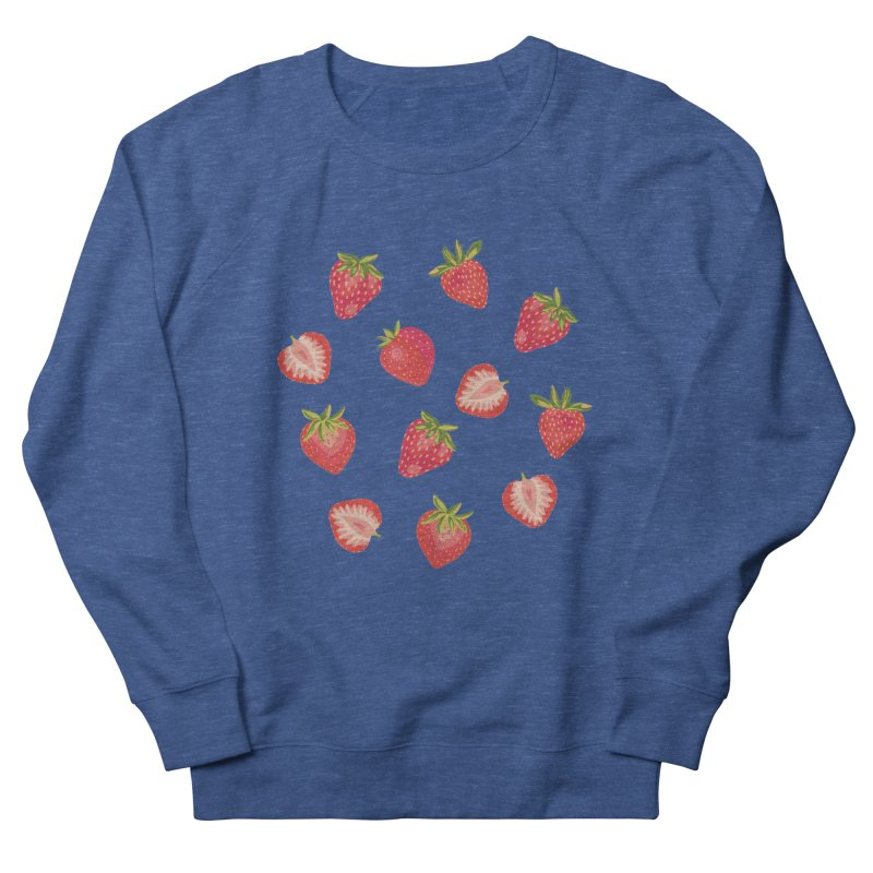 Summer Strawberries on Royal Blue Men's Sweatshirt by Zoe Chapman Design