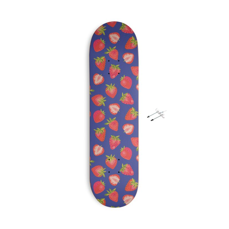 Summer Strawberries on Royal Blue Accessories Skateboard by Zoe Chapman Design