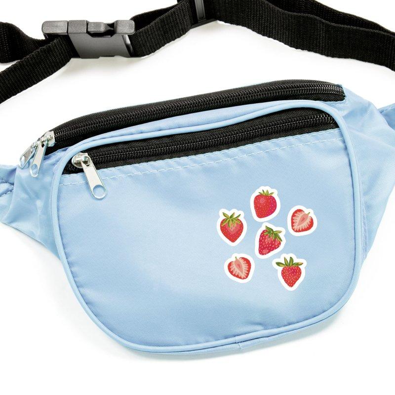 Summer Strawberries on Royal Blue Accessories Sticker by Zoe Chapman Design