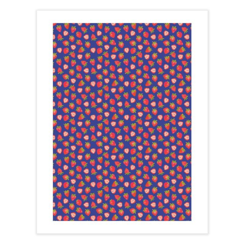 Summer Strawberries on Royal Blue Home Fine Art Print by Zoe Chapman Design