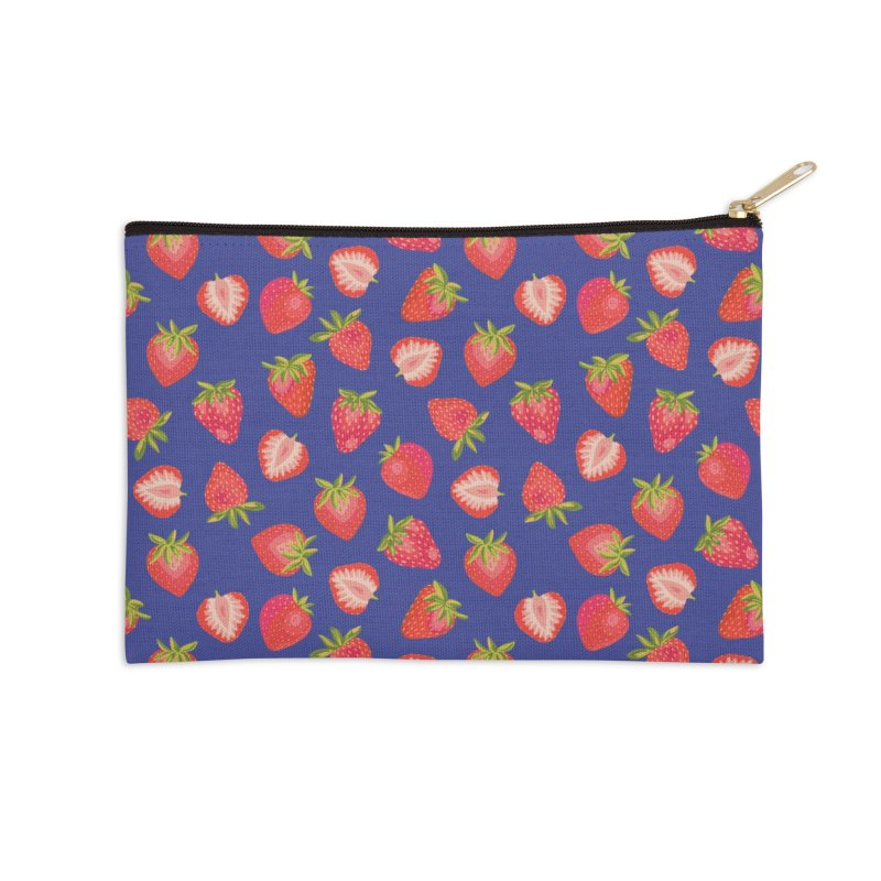 Summer Strawberries on Royal Blue Accessories Zip Pouch by Zoe Chapman Design