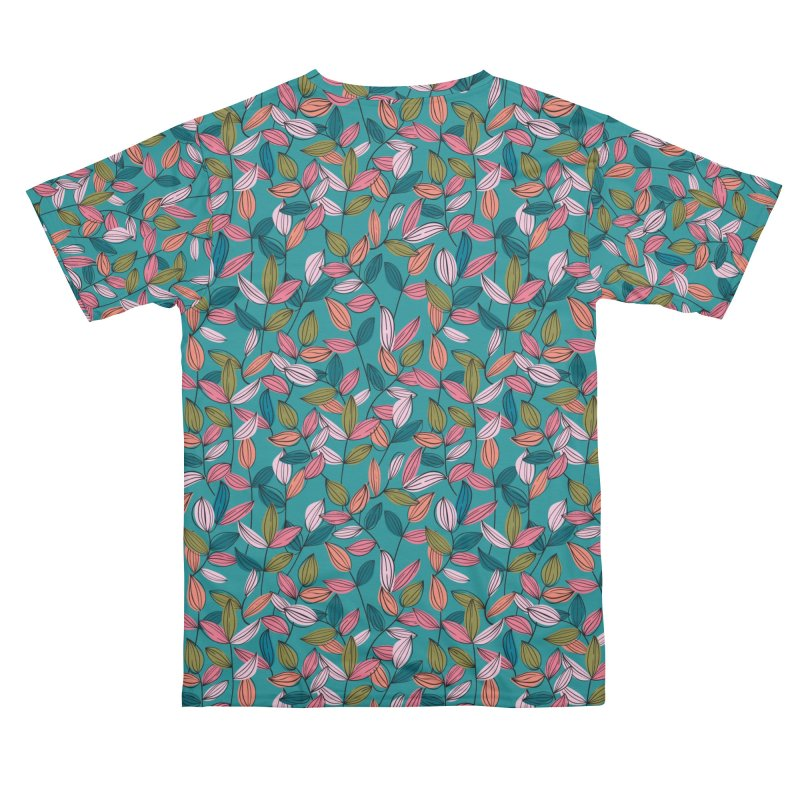 House Plant Leaf Lines in Teal Men's Cut & Sew by Zoe Chapman Design
