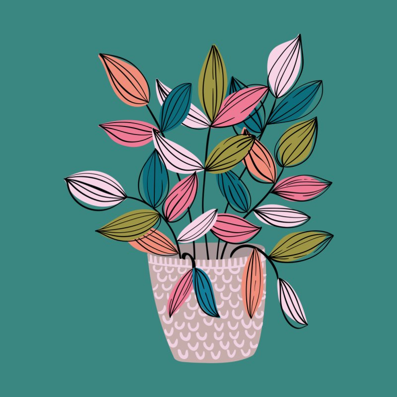 House Plant Leaf Lines in Teal Men's T-Shirt by Zoe Chapman Design