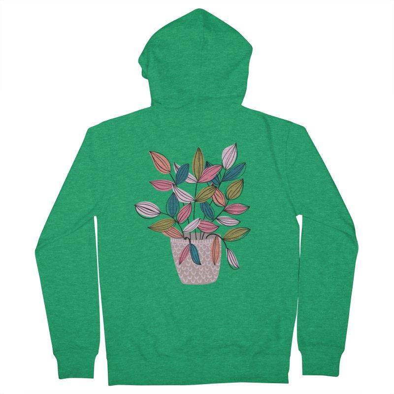 House Plant Leaf Lines in Teal Men's Zip-Up Hoody by Zoe Chapman Design
