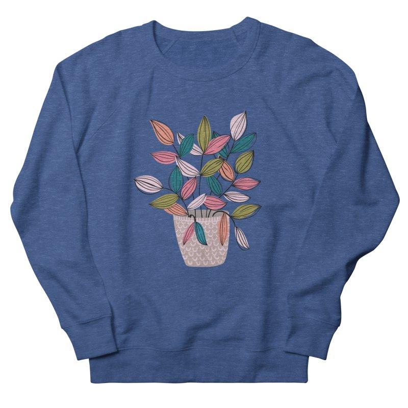 House Plant Leaf Lines in Teal Men's Sweatshirt by Zoe Chapman Design