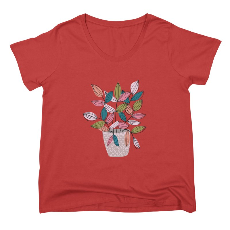 House Plant Leaf Lines in Teal Women's Scoop Neck by Zoe Chapman Design