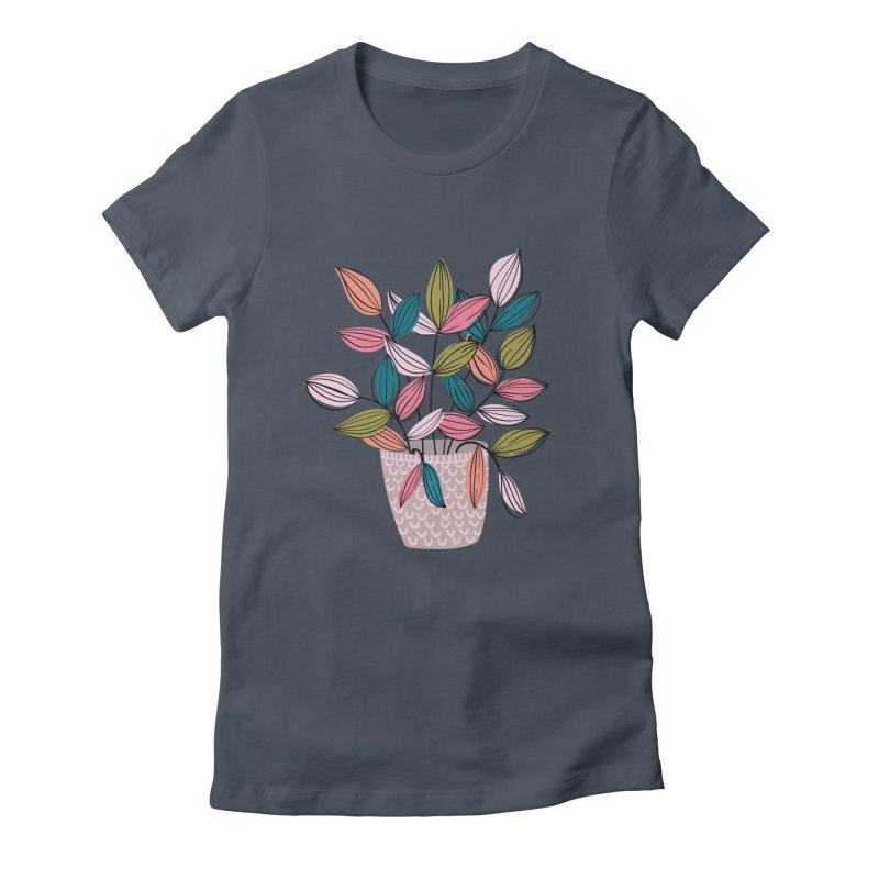 House Plant Leaf Lines in Teal Women's T-Shirt by Zoe Chapman Design