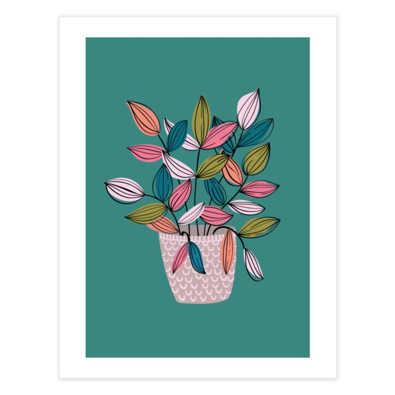 House Plant Leaf Lines in Teal Home Fine Art Print by Zoe Chapman Design