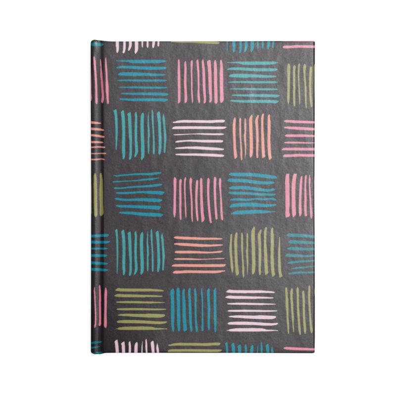 Geometric Hatch Lines Accessories Notebook by Zoe Chapman Design