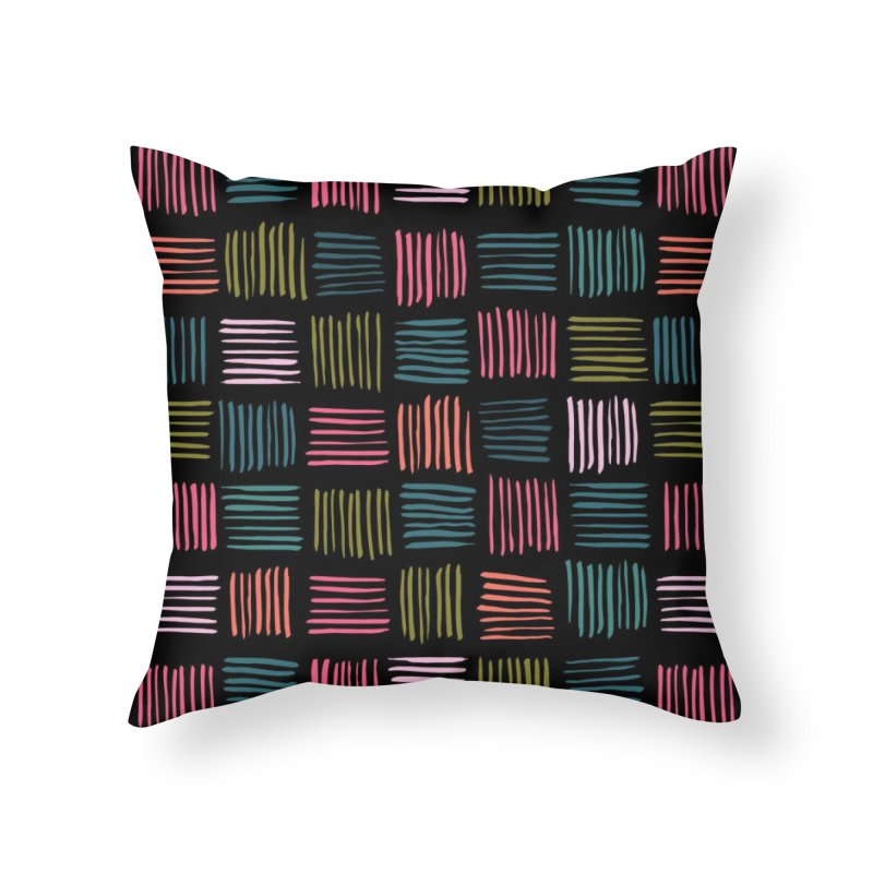 Geometric Hatch Lines Home Throw Pillow by Zoe Chapman Design