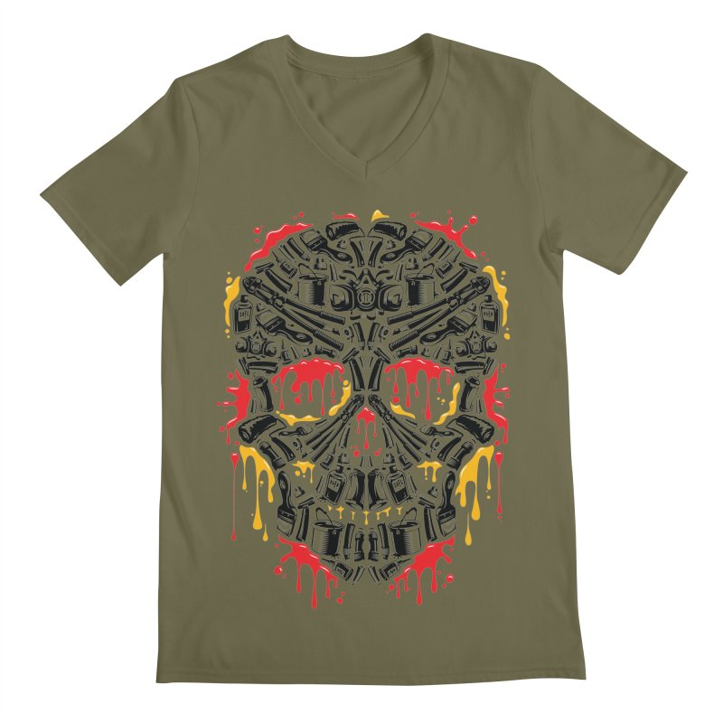 Sweet Streets Skull Men's Regular V-Neck by zoelone's Artist Shop
