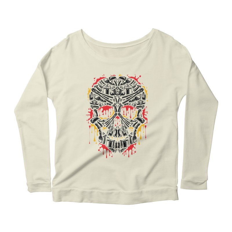 Sweet Streets Skull Women's Scoop Neck Longsleeve T-Shirt by zoelone's Artist Shop