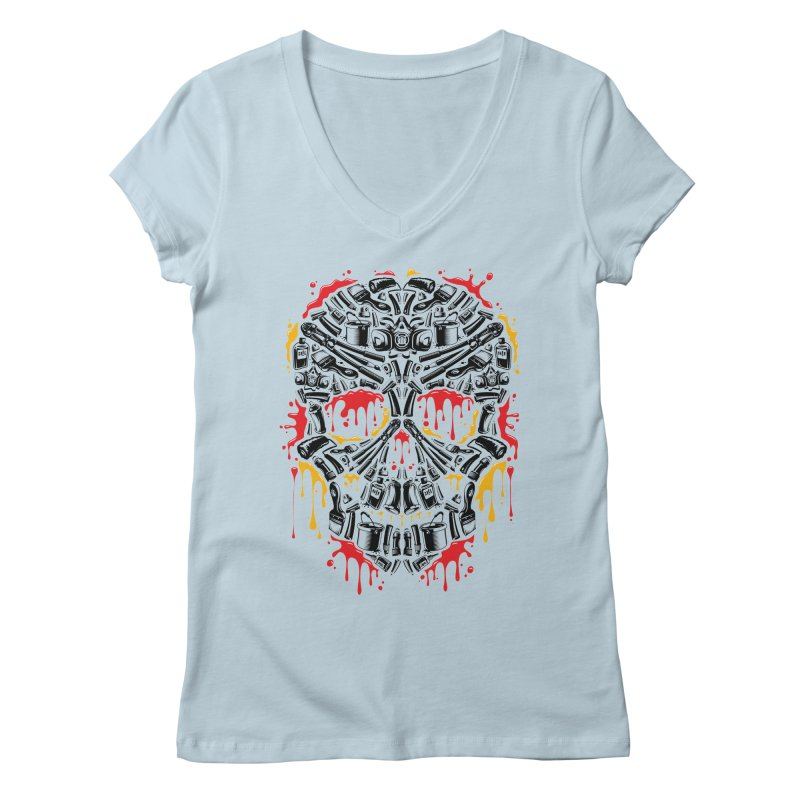 Sweet Streets Skull Women's V-Neck by zoelone's Artist Shop