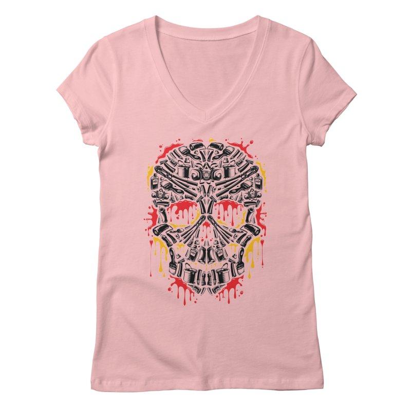 Sweet Streets Skull Women's Regular V-Neck by zoelone's Artist Shop