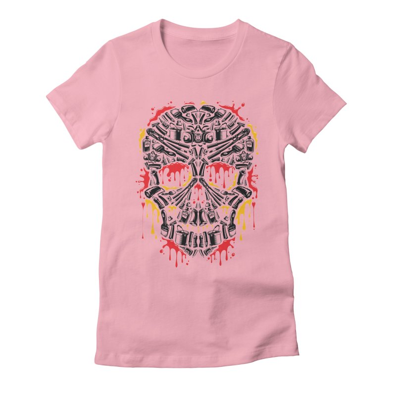 Sweet Streets Skull Women's Fitted T-Shirt by zoelone's Artist Shop