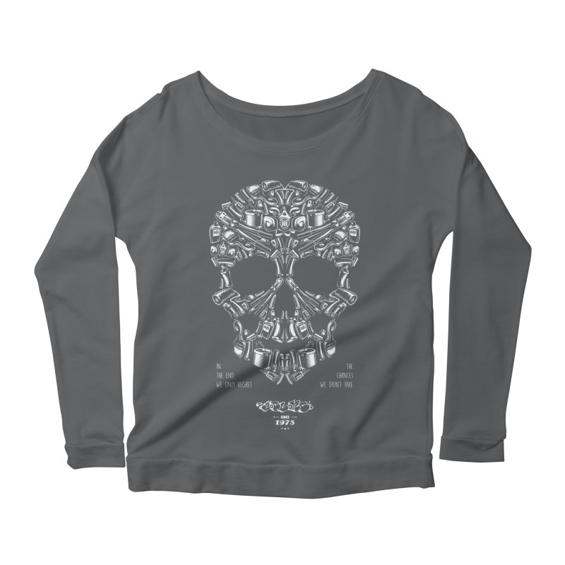 Sweet Street Skull Black Women's Scoop Neck Longsleeve T-Shirt by zoelone's Artist Shop