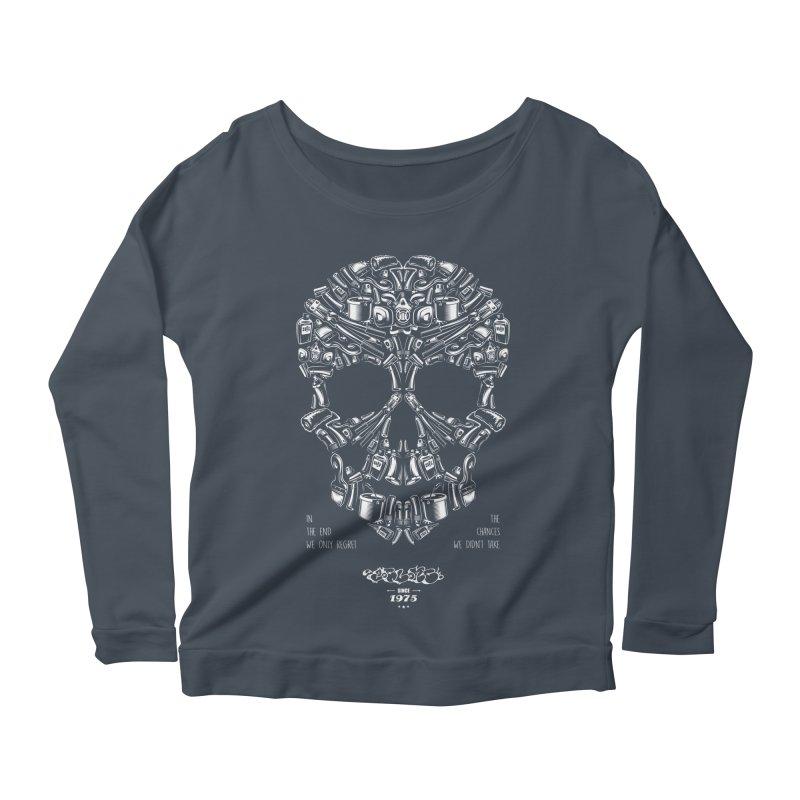 Sweet Street Skull Black Women's Scoop Neck Longsleeve T-Shirt by zoelone's Artist Shop